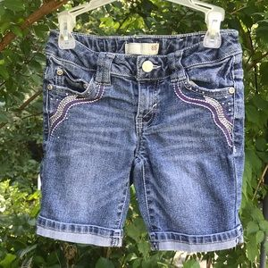 Route 66 Denim Blue Jean Embroidered Shorts Studs